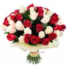 "Bouquet ""51 red-cream rose"""