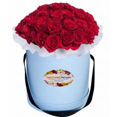 Buy red roses in a hat box