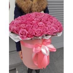 101 Pink rose in a hatbox