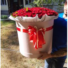 201 red rose in hat box