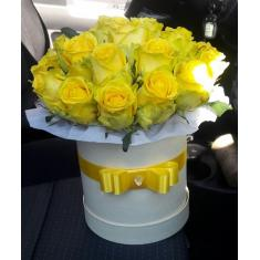 Yellow roses in a hat box