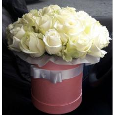 White roses in a hat box