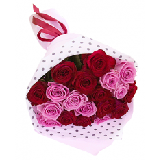 "Bouquet ""19 red and pink roses"""