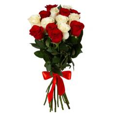 "Bouquet ""15 red and white roses"""
