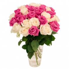"Bouquet ""25 white-pink roses"""
