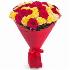"Bouquet ""51 red-yellow rose"""