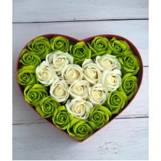 "Box of soap roses ""Green heart"""