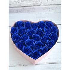 "Box of soap roses ""Blue heart"""
