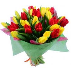 "Bouquet ""29 red and yellow tulips"""