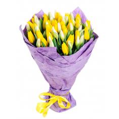 "Bouquet ""51 white yellow Tulip"""