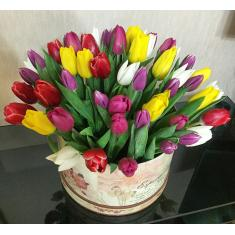 55 mix of tulips in a hat box