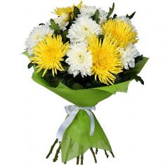 "Bouquet ""11 white and yellow chrysanthemums"""