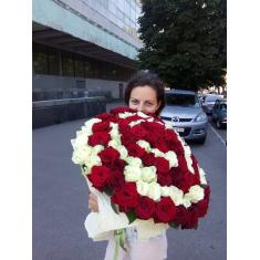 "Bouquet ""101 red and white roses"""