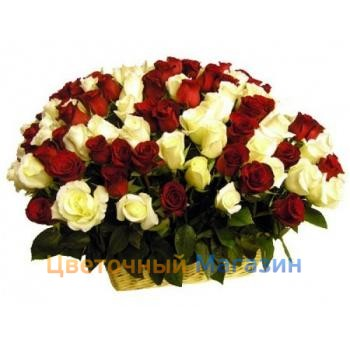 "Basket ""101 red and white rose""Basket ""101 red and white rose"""