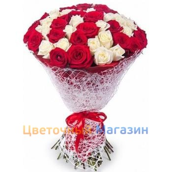 "Bouquet ""75 red-white roses"""