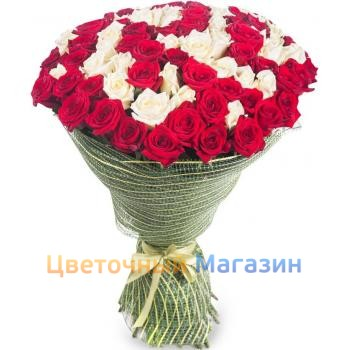 "Bouquet ""101 red-white rose"""