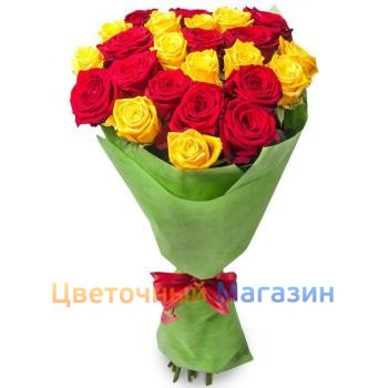 "Bunch ""25 red and yellow roses""Bunch ""25 red and yellow roses"""