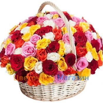 "Basket ""101 colored roses"""