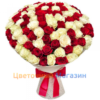 "Bouquet ""101 red and white roses""Bouquet ""101 red and white roses"""