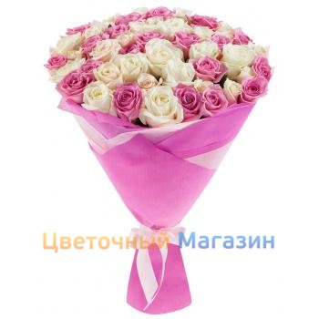 "Bouquet ""51 pink and white rose""Bouquet ""51 pink and white rose"""
