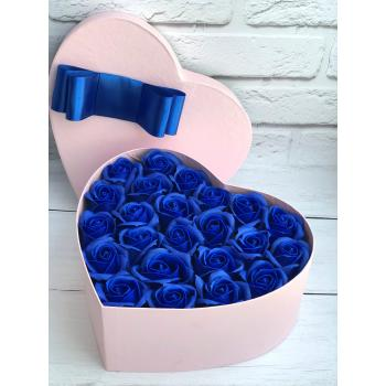 "Box of soap roses ""Blue heart""Box of soap roses ""Blue heart"""