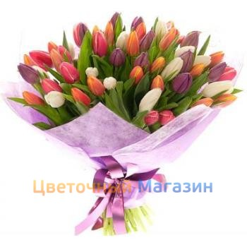 "Bouquet ""75 colored tulips"""