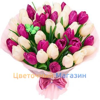 "Bouquet ""39 pink and white tulips"""