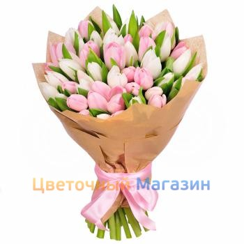 "Bouquet ""35 pink-white tulips""Bouquet ""35 pink-white tulips"""