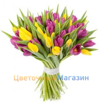 "Bouquet ""35 violet-yellow tulips"""