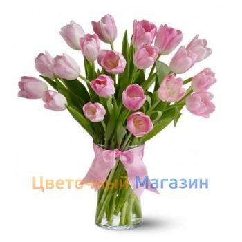 "Bouquet ""19 pink tulips"""