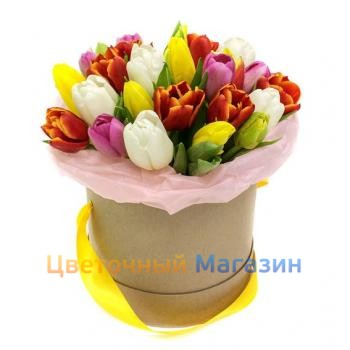 25 mix tulips in a hat box