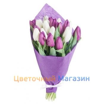 "Bouquet ""19 purple-white tulips""Bouquet ""19 purple-white tulips"""