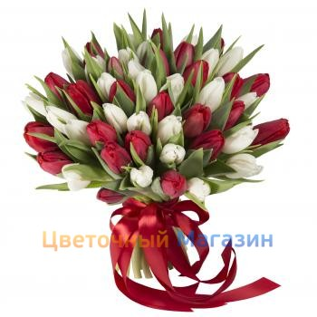 "Bouquet ""51 red and white Tulip""Bouquet ""51 red and white Tulip"""