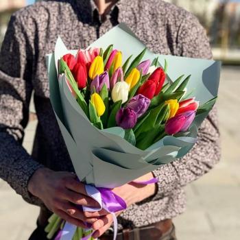 """Букет """"25 кольорових тюльпанів""""Букет """"25 кольорових тюльпанів"""""""