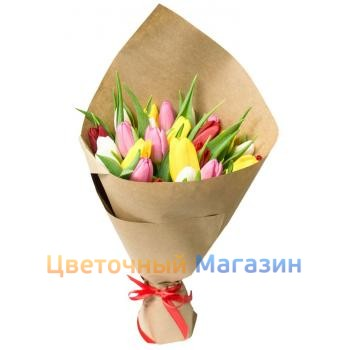 "Bouquet ""25 colored tulips"""
