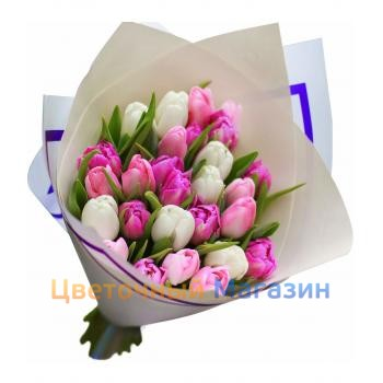 "Bouquet ""25 pink-white tulips""Bouquet ""25 pink-white tulips"""