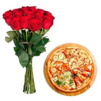 """15 red roses and pizza"""